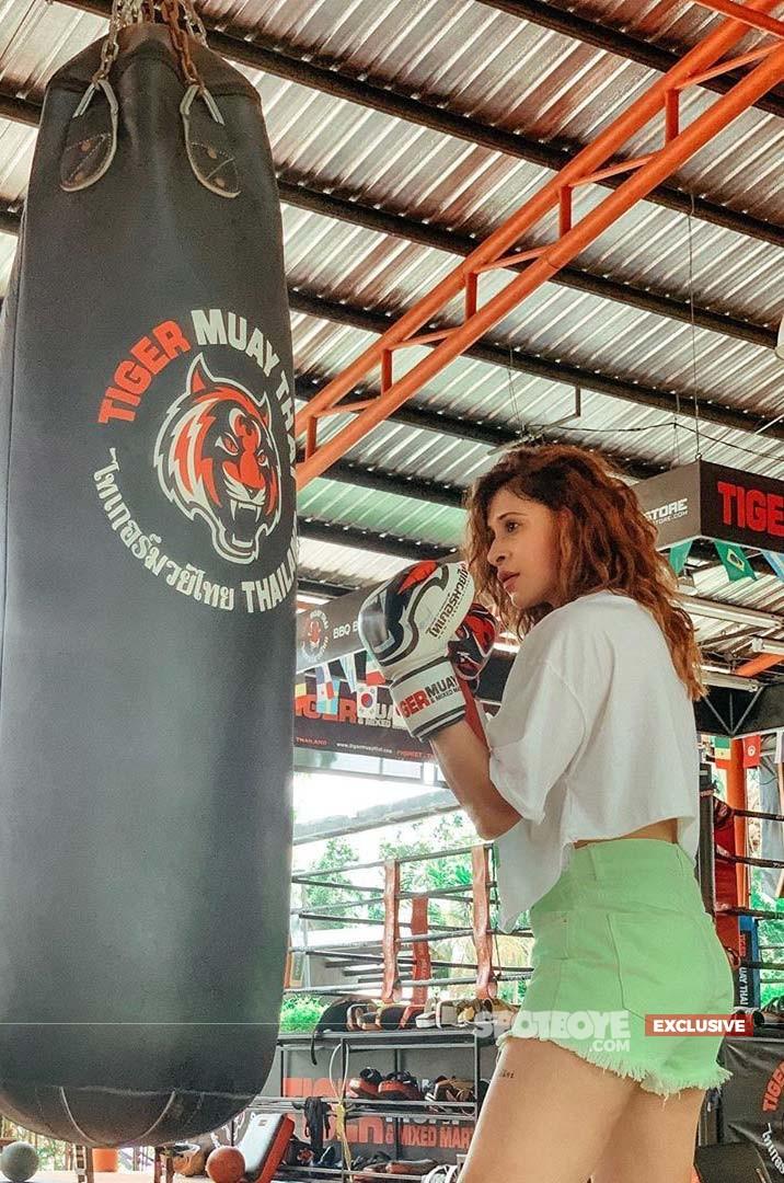 Kishwer Merchant indulging in Muay Thai