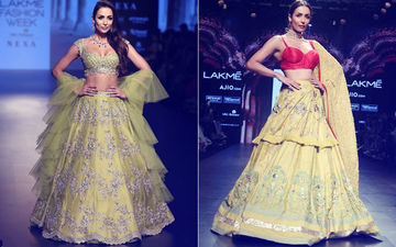 Lakme Fashion Week 2018: Malaika Arora's Lehenga Cholis -- Orange-Yellow Or Lime Green?