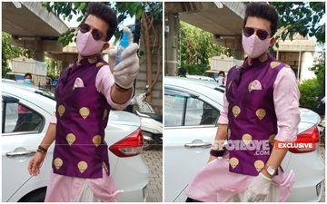 Manish Raisinghan-Sangeita Chauhaan Marriage: Groom Leaves His House Wearing Sherwani With Matching Mask, Sprays Generous Sanitiser - EXCLUSIVE