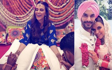 Neha Dhupia Mehendi Pics: Actress Looks Radiant In Blue
