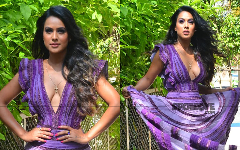 Nia Sharma Is A Purple Princess In A Floor Length Gown As She Promotes Her Web Show Jamai 2.0
