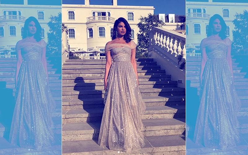 The Royal Reception: Priyanka Chopra Channels Sexy In A Shimmery Christian Dior Gown