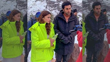 Brahmastra: Lovebirds Ranbir Kapoor-Alia Bhatt Strike A Serious Pose In The Icy Hills Of Manali – PICS