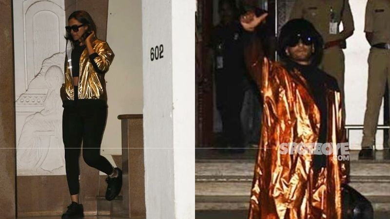 Ranveer Singh-Deepika Padukone Twin In Shiny Foiled Outfits; Fans Call Them A Combo Of 'Ferrero Rocher And Lindt'