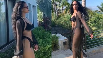 Rihanna Flaunts Her Well Toned Body As She Casually Takes A Stroll In A Sizzling Black Bikini- WATCH VIDEO