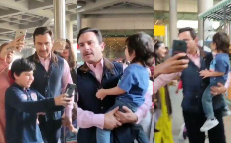 Saif Ali Khan Irritated With Fans Mobbing Him, Taimur And Kareena Kapoor Khan; Pushes A Man's Hand – VIDEO
