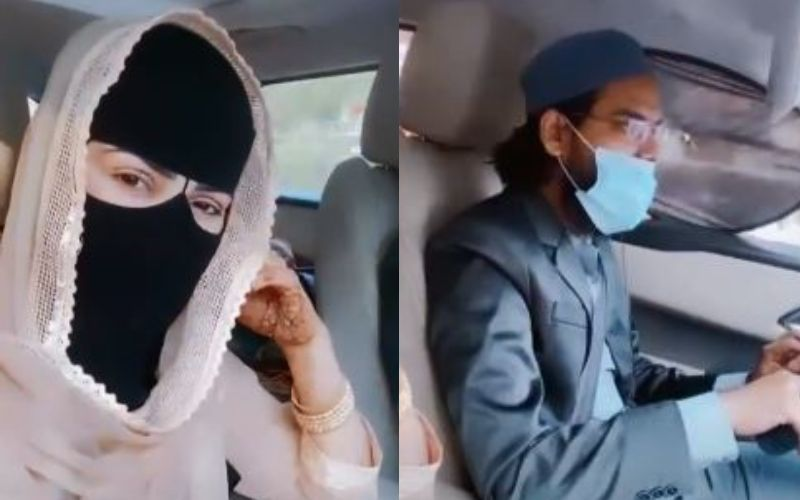 New Bride Sana Khan Spends Some Quality Time With Hubby Mufti Anas As They Head Out For A Romantic Drive - VIDEO