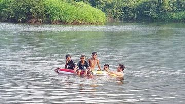 Salman Khan Takes A Dip In A Lake With Some Cool Kids, Says, 'Paani Main Gote Lagaye Aapke Bhai Ne Kal'
