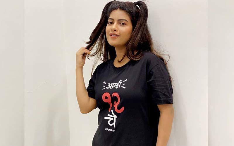 Actress And Dancer Dhanashri Kadgaonkar Wear Nothing But A Tshirt & Pigtails
