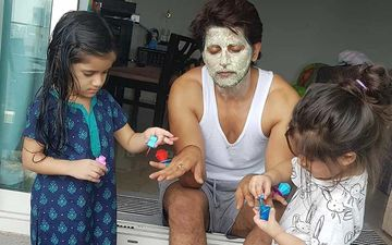 Coronavirus Lockdown: Karanvir Bohra Gets Special Beauty Treatment At Home Including A Facial And Manicure; Twins Vienna And Raya Bella Deck Up Daddy Dearest