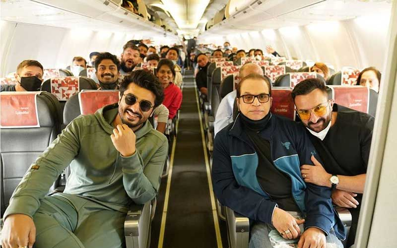 Bhoot Police: Arjun Kapoor To Kick-Start Last Schedule Of The Film With Saif Ali Khan In Jaisalmer; Shares An Aeroplane Pic With The Team