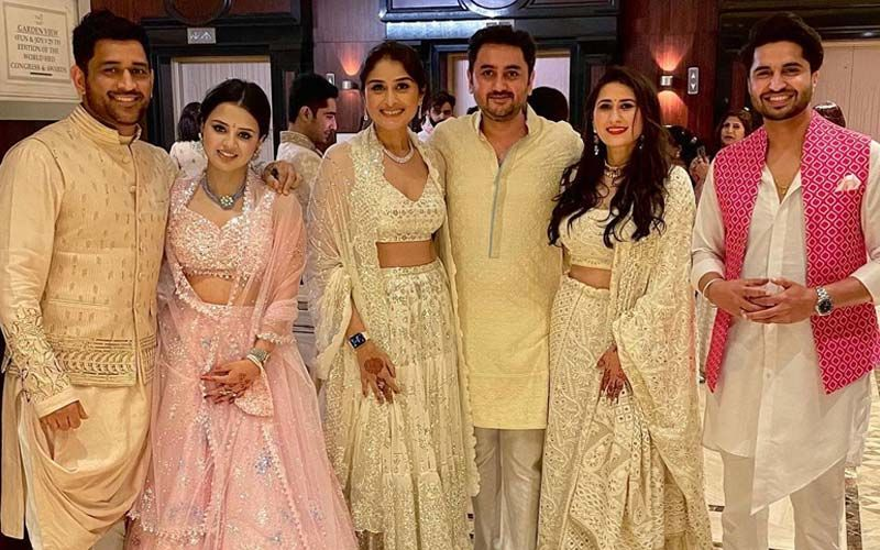 Jassie Gill Gets Clicked With MS Dhoni And Wife Sakshi; Stars Dazzle In Wedding Outfits
