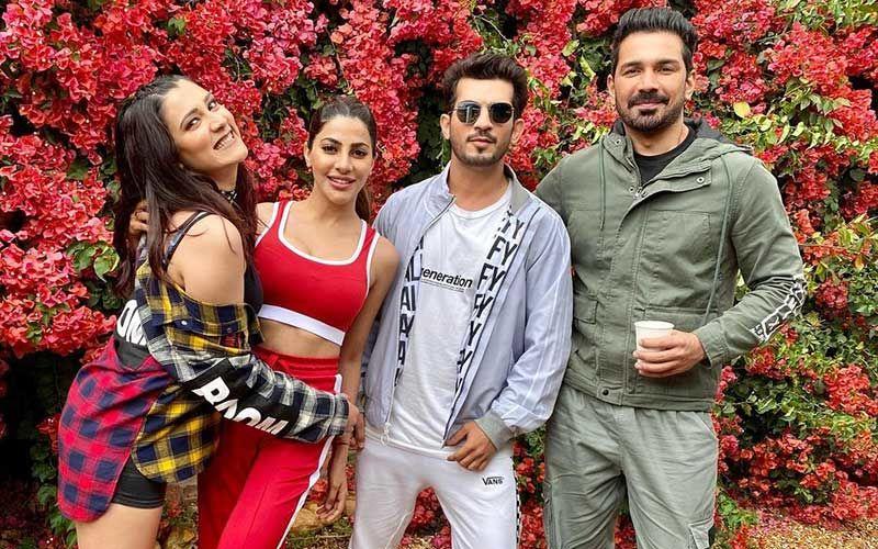Nikki Tamboli Poses For Pics With Aastha Gill, Abhinav Shukla And Arjun Bijlani On The Sets Of Khatron Ke Khiladi 11; Says 'Love My Friends'
