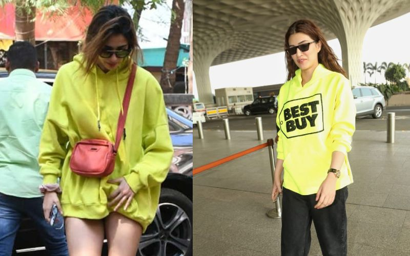 Disha Patani - Kriti Sanon Up Their Sweatshirt Game In Almost Same Neon Hoodies - Who Werked It Better Though?