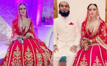 New Bride Sana Khan Shares More Glimpses Of Her Walima Look From Her Wedding; Looks Exquisite In A Red Lehenga - PICS