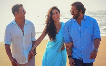 Sooryavanshi: KatrinaKaif Strolls On The Beach Wearing A Saree; Akshay Kumar And Rohit Shetty Give Her Company