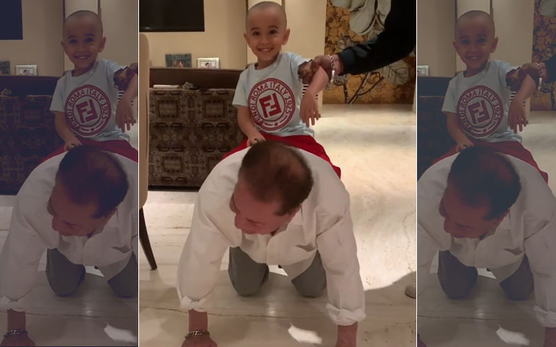 Grandson Ahil Sits On Salim Khan's Back: Chal Mere Ghode Tick Tick Tick! Watch Amazing Video