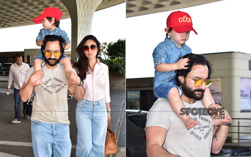 Saif-Kareena Kapoor Khan And Taimur Are Headed For Summer Holidays; Get Papped At The Airport In Cool Bell-Bottoms