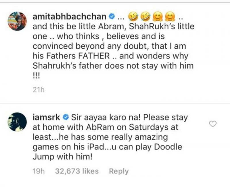 Shah Rukh Khans Comment On Amitabh Bachchans Instagram Post