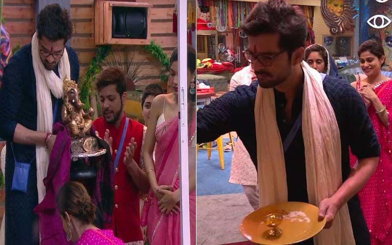 Bigg Boss OTT: Raqesh Bapat Makes Ganpati Idol In The House, Contestants Come Together For Puja; Shamita Shetty Twins With Sister Shilpa Shetty -WATCH