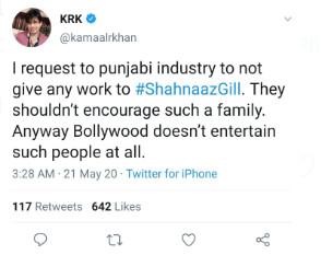 Shehnaz Gill's Father Santokh Singh Booked For Rape: KRK Asks ...