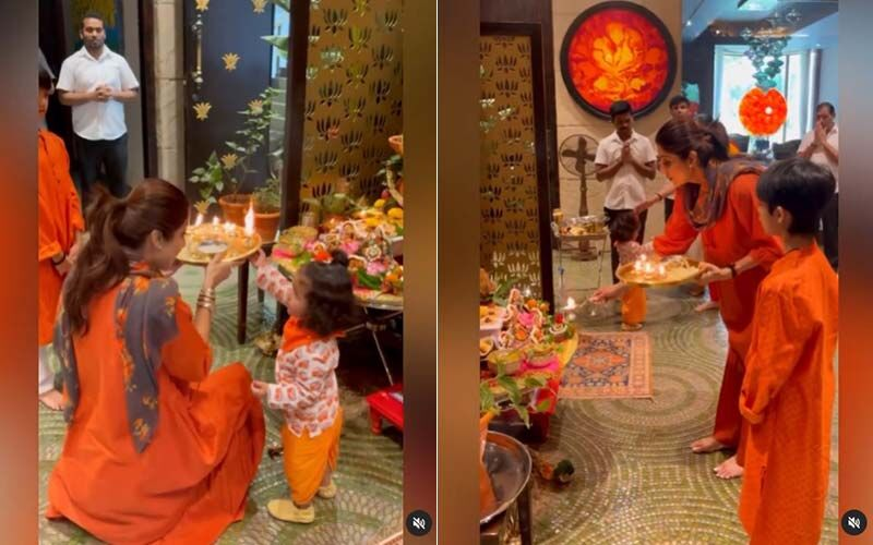 Shilpa Shetty Performs Navratri Puja At Home With Her Kids, Viaan Raj Kundra and Samisha Shetty Kundra-Watch Video