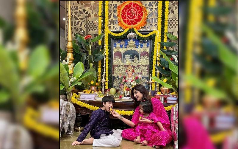 Ganesh Chaturthi 2021: Shilpa Shetty Shares Beautiful Photos With Her Kids As She Welcomes Ganpati Bappa Home; Mother And Daughter Twin In Pink
