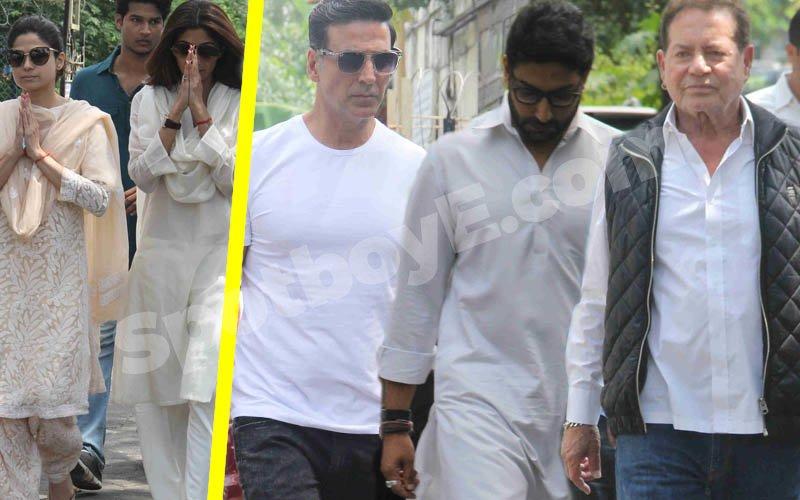 Akshay Kumar, Abhishek Bachchan, Salim Khan Attend Shilpa Shetty's Father's Funeral