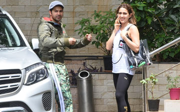 Coolie No 1 Pair Varun Dhawan-Sara Ali Khan Wear Their Dancing Shoes, Get Snapped Post Dance Rehearsal