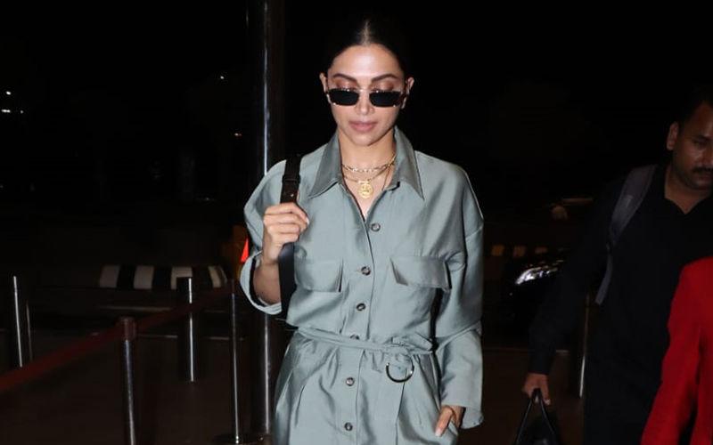 Deepika Padukone Zooms Off To Paris Fashion Week 2019 Wearing The Shiniest Jumpsuit Ever!