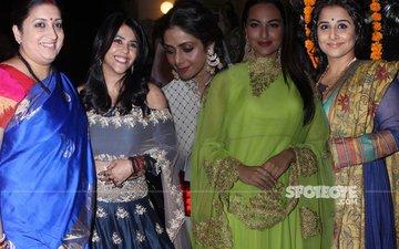 Smriti Irani, Sridevi, Sonakshi Sinha, Vidya Balan at Ekta Kapoor's Diwali bash