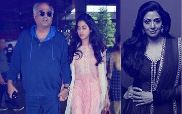 Janhvi & Boney Kapoor Bring Sridevi's National Award Back Home In Mumbai
