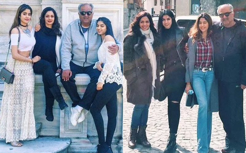 Sridevi With Daughters And Husband Boney Kapoor On Vacation