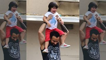 Aww, Papa Saif Ali Khan Consoles A Crying Taimur Ali Khan By Giving Him A Shoulder Ride – PIC