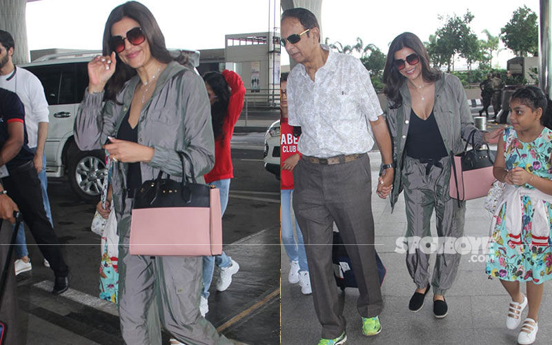 Sushmita Sen Along With Her Daughters And Beau Rohman Shawl Jet Off To Goa For Her Brother Rajeev's Wedding