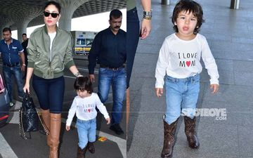 Like Mother, Like Son; Kareena Kapoor Khan And Taimur Redefine Airport Fash In Matching Leather Boots