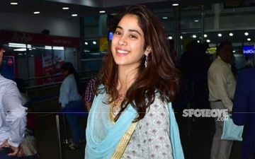 Dostana 2 On The Roll: Janhvi Kapoor Jets Off For Film's First Schedule, Oozes Grace In A Bright Blue Sharara