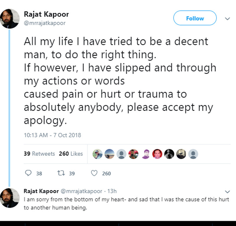 rajat kapoor apology tweet