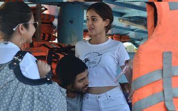 Vijay Devarakonda - Ananya Panday Share A Sweet But Awkward Hug As They Take A Boat Ride To Reach Shooting Location - PICS