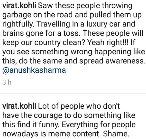 Virat Kohli Instagram Comments