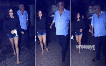 All Smiles: Janhvi & Boney Spotted Exiting Arjun Kapoor's House