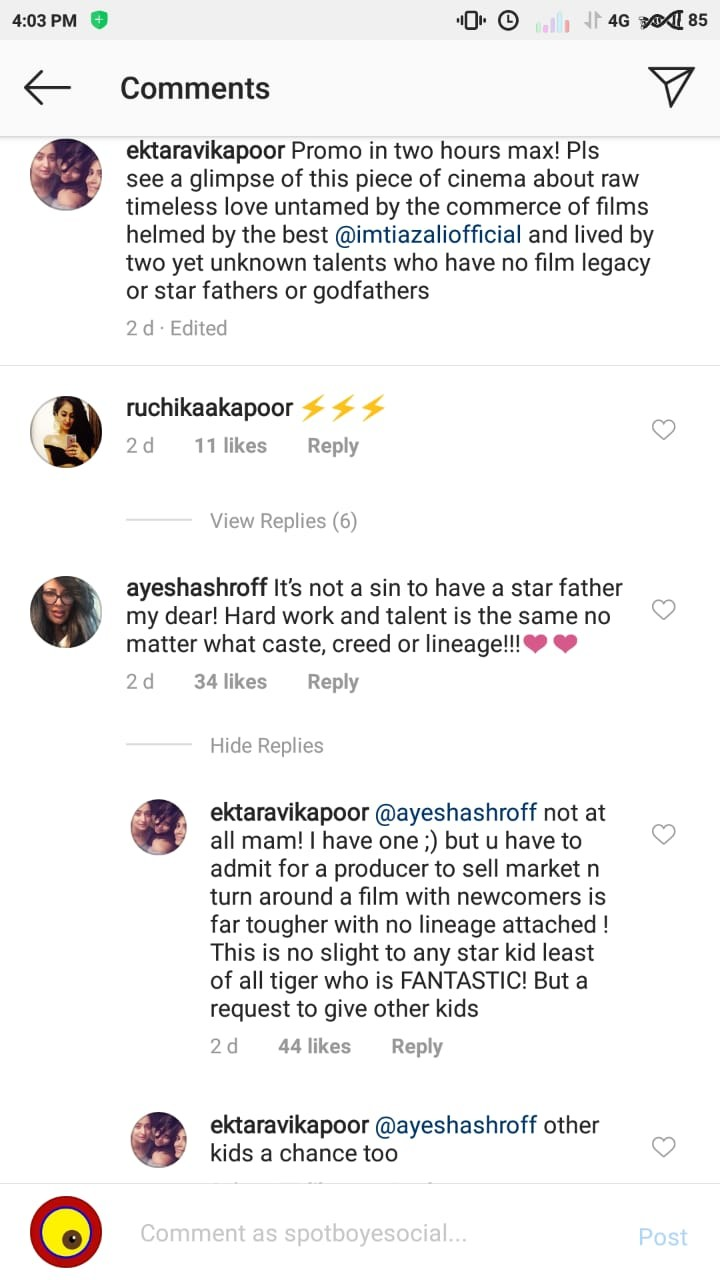 ekta kapoor tiger shroff s mother are having a heated debate on nepotism on social media