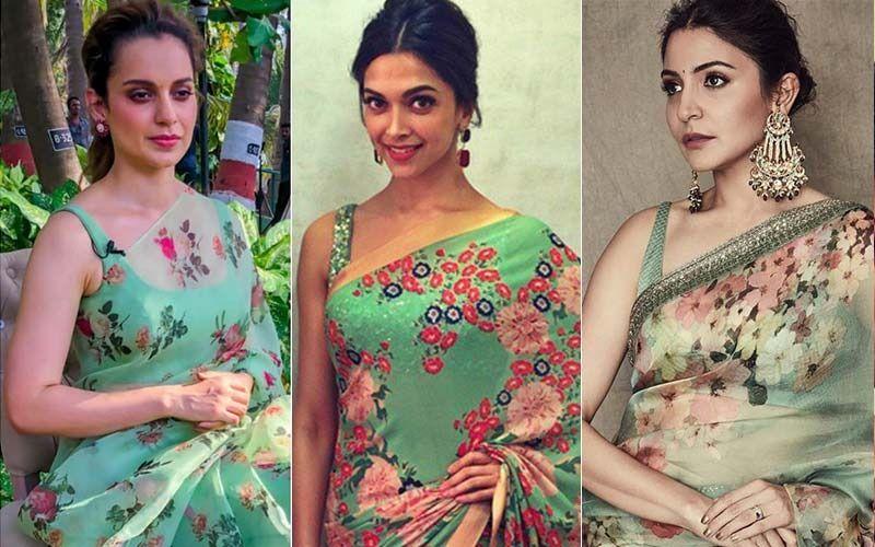 Deepika Padukone, Kangana Ranaut, Anushka Sharma; Beauties That Rocked The Green Floral Saree Look