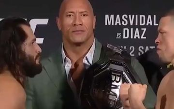 UFC 244: WWE Star Dwayne Johnson Aka The Rock Holding The BMF Title Before Announcing The Winner Is All Things Nostalgia