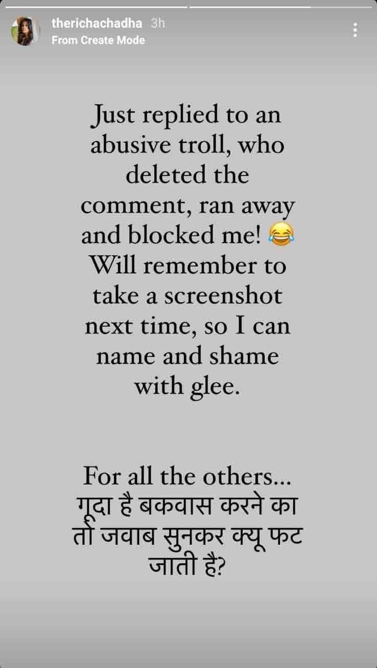 Richa Chadha s Instagram stories
