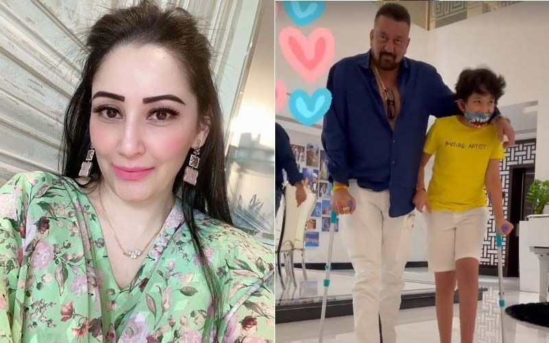Maanayata Dutt Shares A Video Of Sanjay Dutt And Son Shahraan Walking Arm In Arm With The Help Of Crutches-WATCH