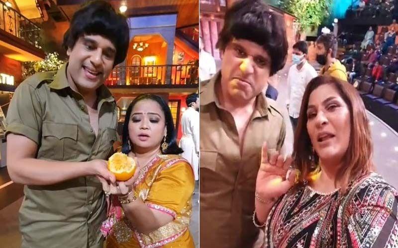 The Kapil Sharma Show: Krushna As Dharmendra Pulls Archana Puran Singh And Bharti Singh's Leg In This Funny BTS Video-WATCH