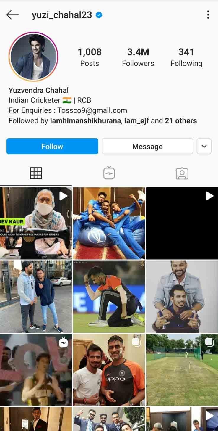 yuzvendra chahal instagram