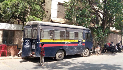 a police van outside sonu nigams house for his security