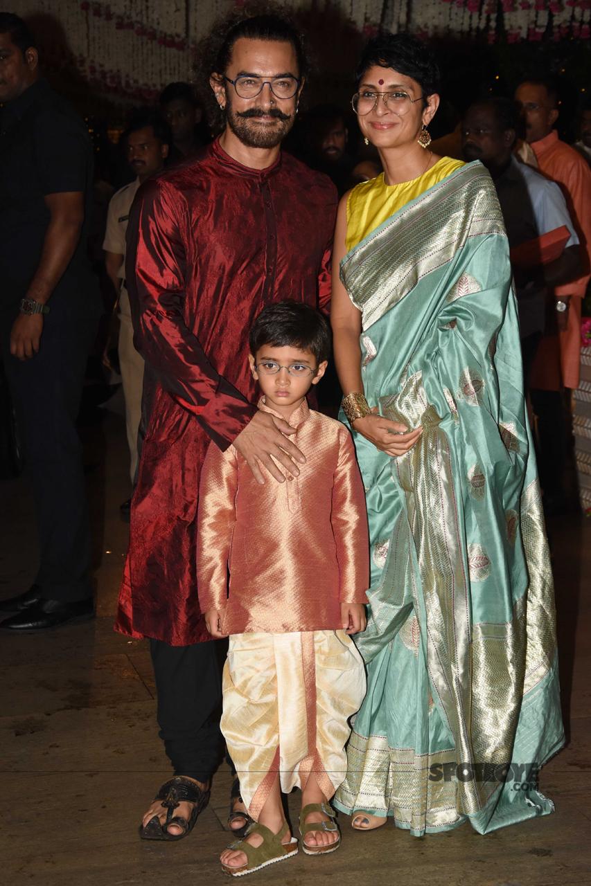 aamir khan with kiran rao and azaad at ambani ganpati celebration